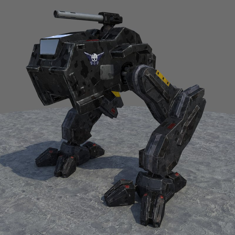 low-poly rigged mech max
