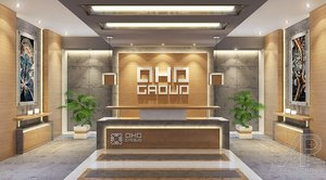 3d contemporary office reception lobby model