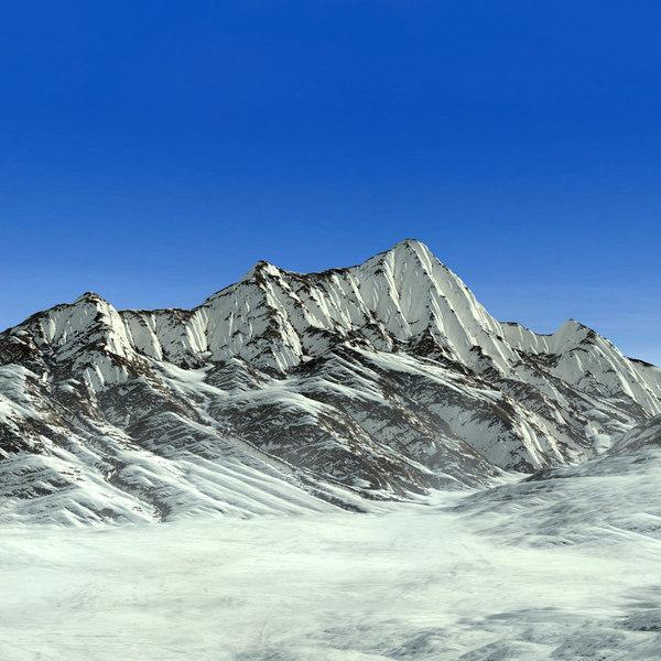 3d model mountain range alaska terrain landscape