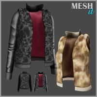 jacket fur leather 3ds