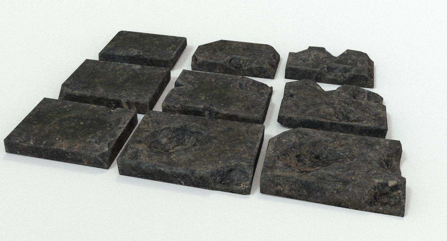 stone plates damage 3d 3ds