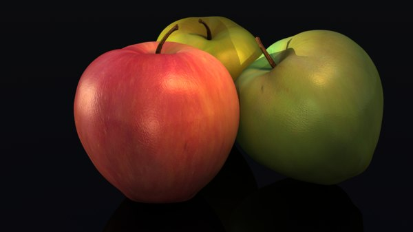 3d apples red green model