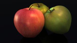 3d apples red green model