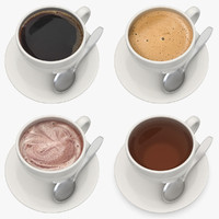 3d realistic hot beverage set model