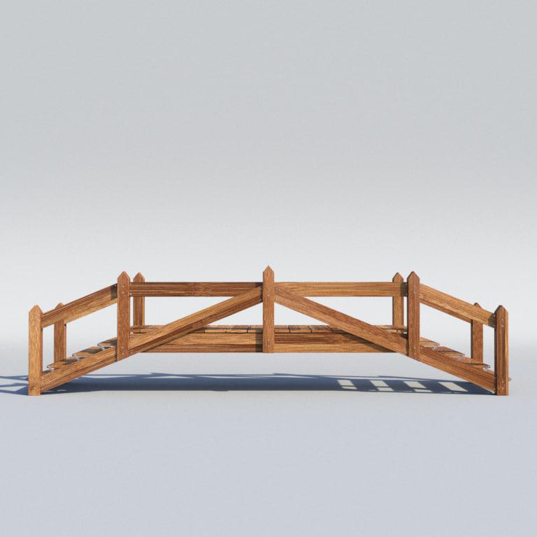 elegant wooden bridge wood 3d obj