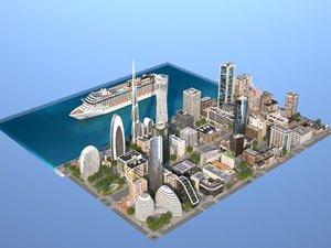 3ds coastal city buildings