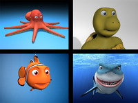 cartoon rigged characters shark 3d model