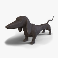 dashing dachshund table sculpture 3d model