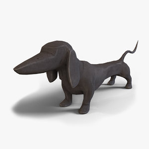 dashing dachshund table sculpture 3d model