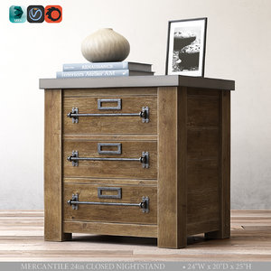 mercantile 24in closed nightstand 3d model