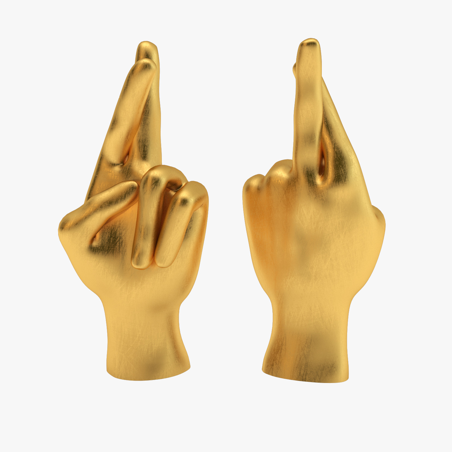 3d model realistic brass fingers crossed