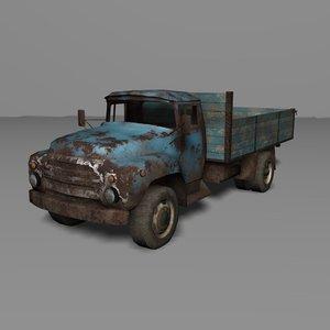 rusty truck zil-130 3d model