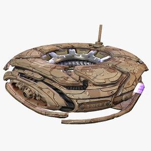 3d sci-fi survailance drone desert model