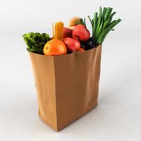 3d model groceries cabbage oranges