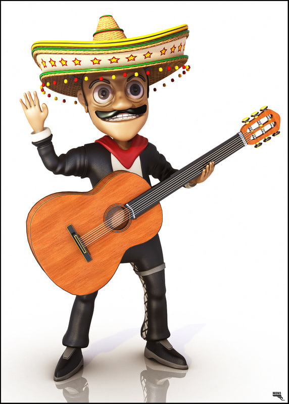 3d model toon cartoon mariachi
