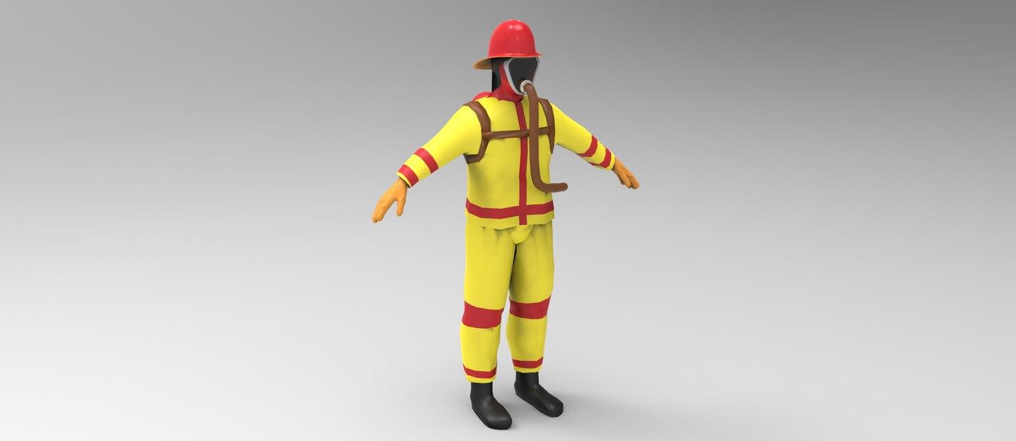 3d model fireman man