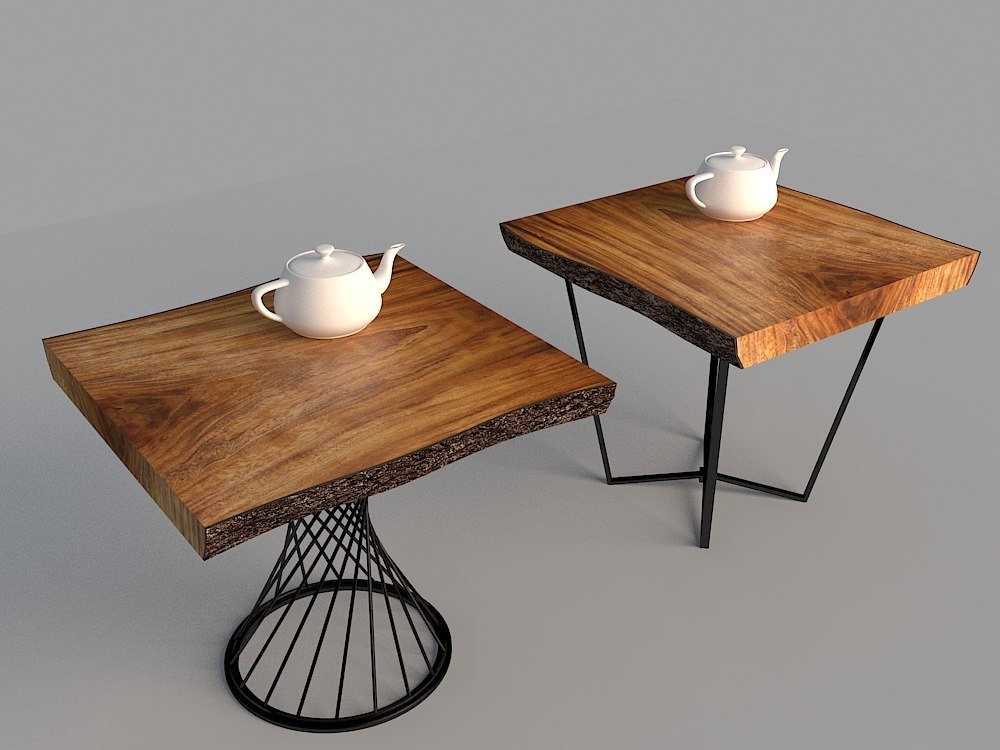 wood log table 3d model