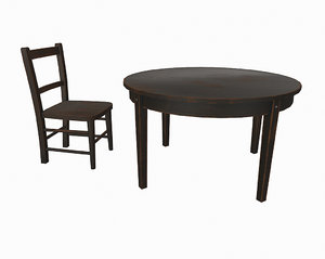 old wooden table chair 3d obj
