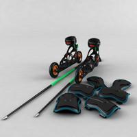 roller skates sticks shields 3d model