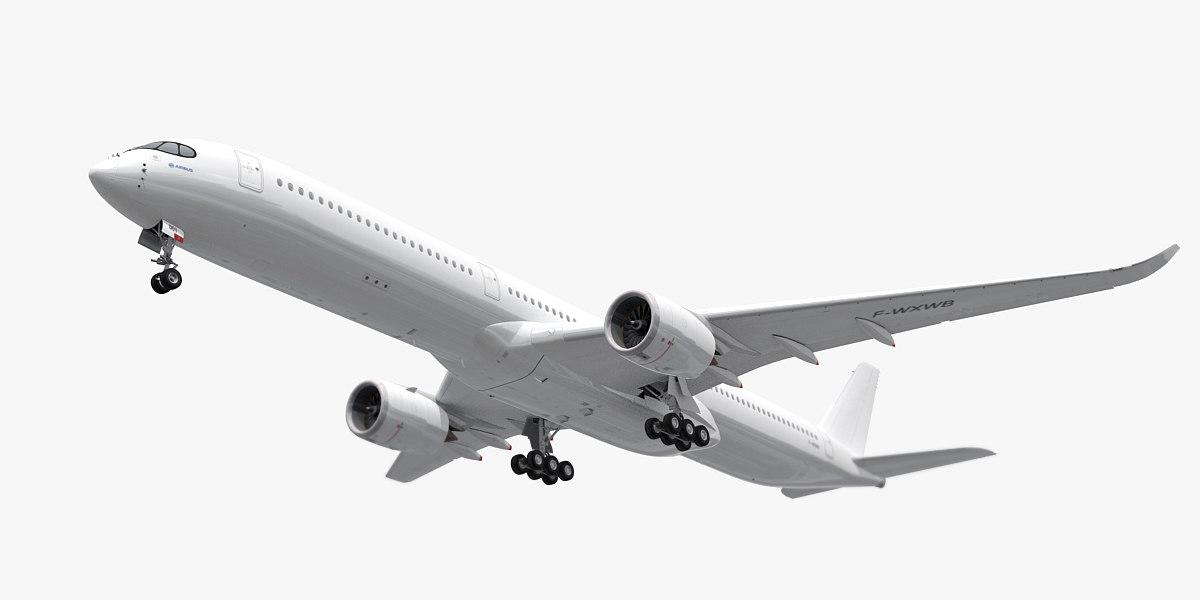 3d model airbus a350-1000 plane generic