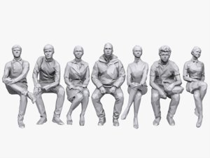 3d model people sitting pack 2