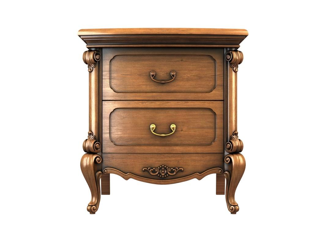 3d nightstand drawers