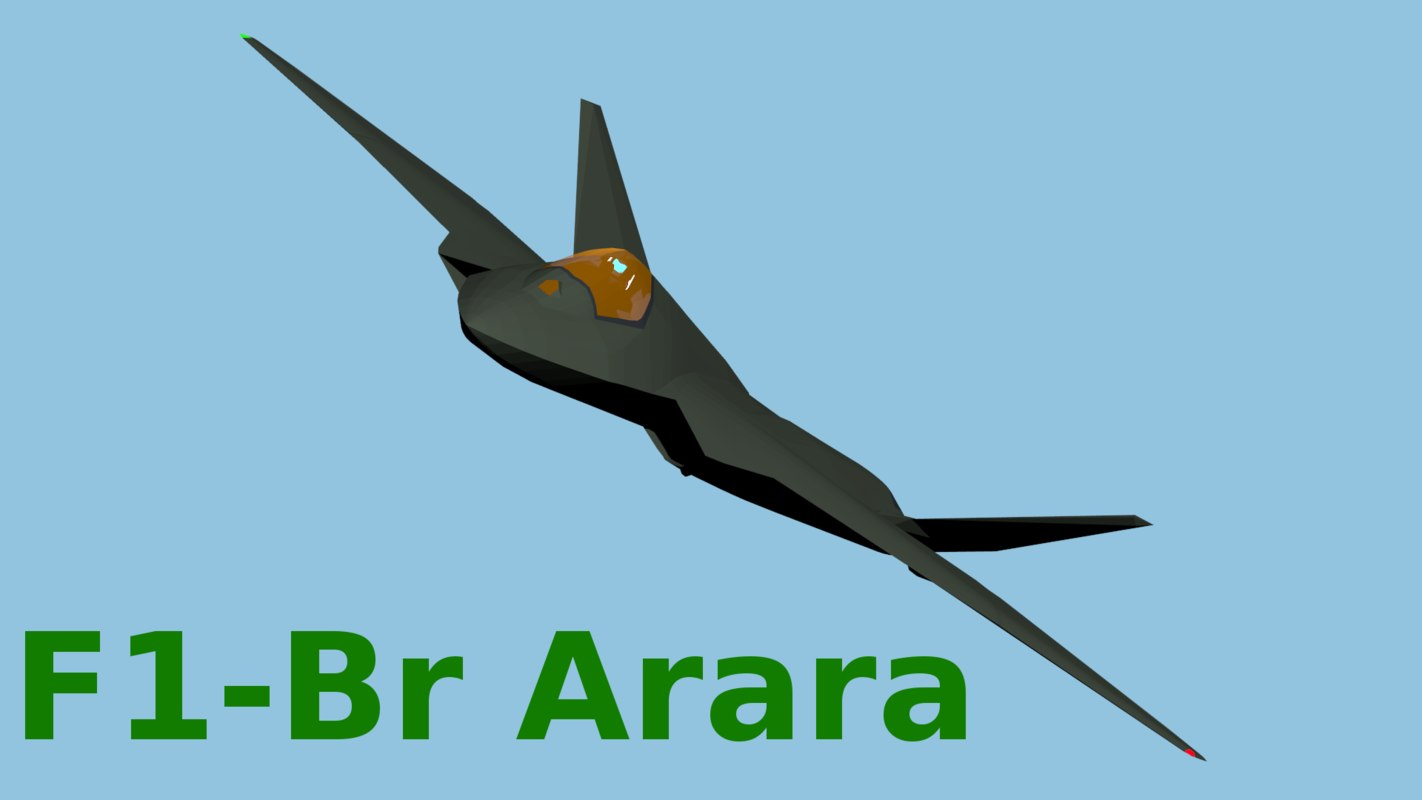 free f1-br arara fighter aircraft 3d model