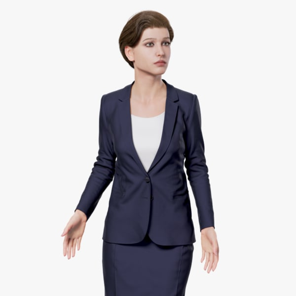 3d model rigged female business suit