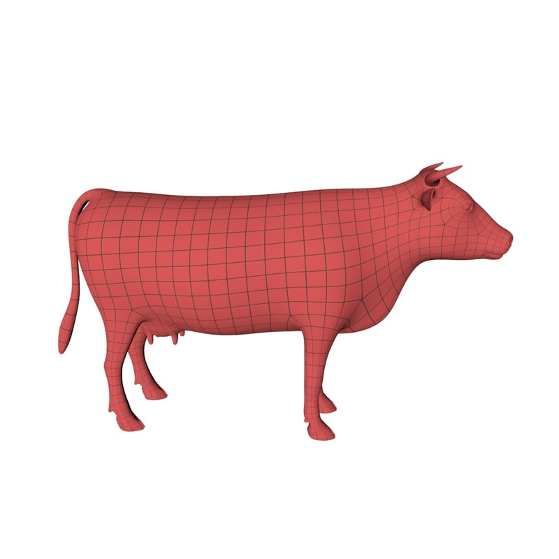 obj base mesh cow