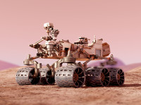 Curiosity Rover Mars, Realistic 3d model with materials and scene
