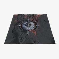 3d alien outpost crater model