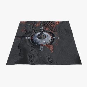 3d alien outpost crater model