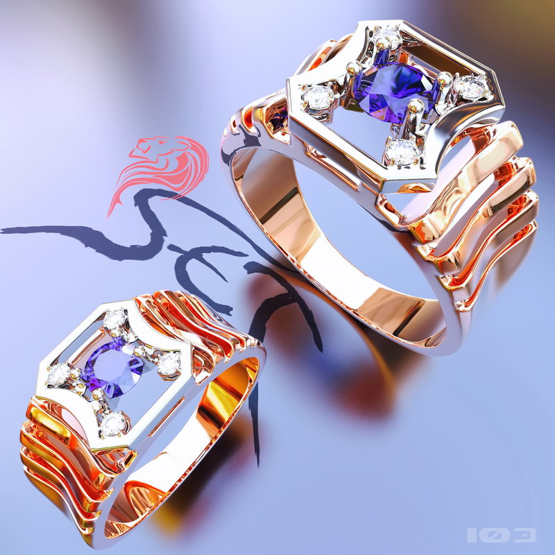 3d ring men diamonds
