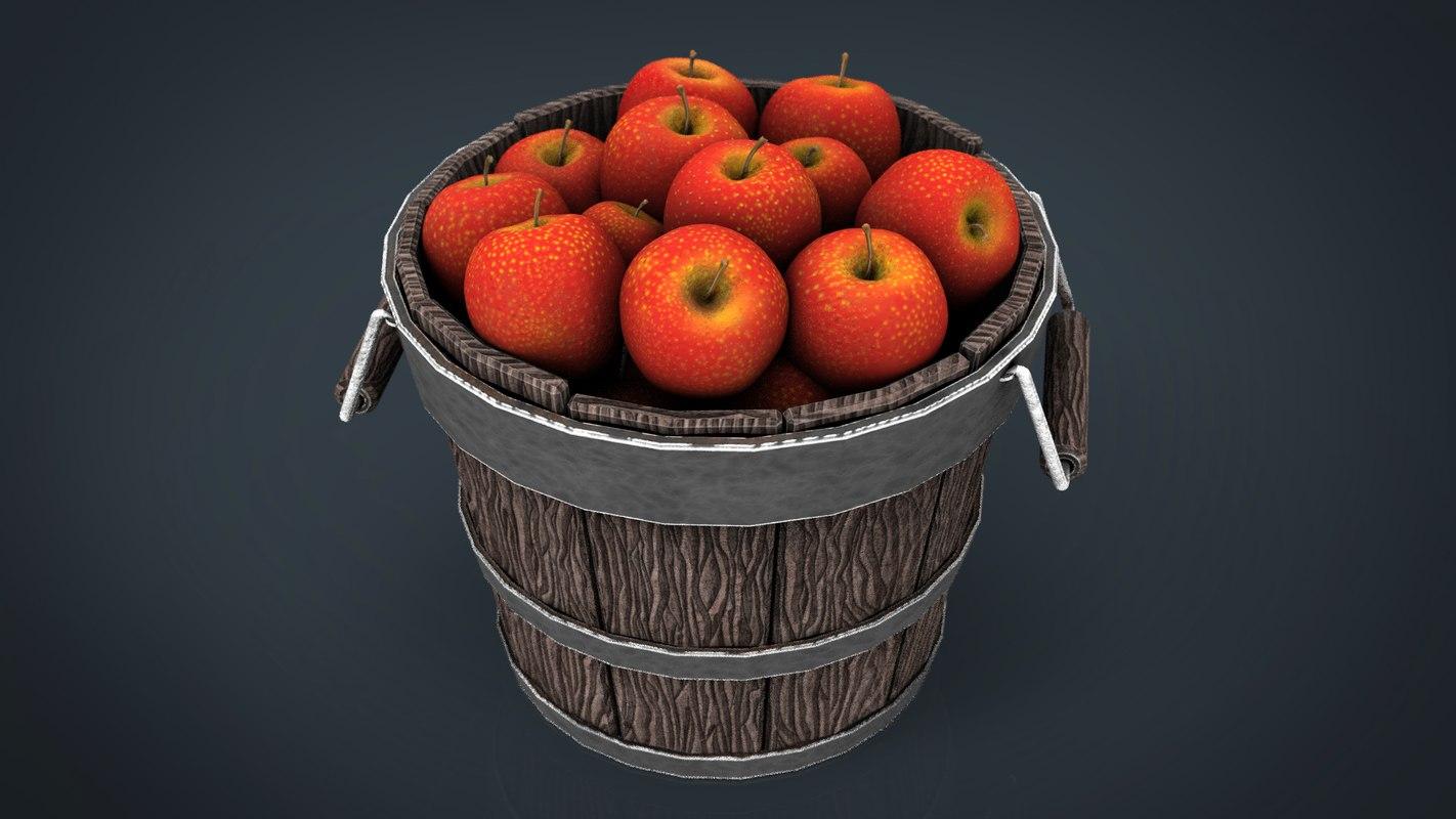 3d wooden bucket apples