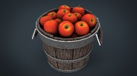 3d wooden bucket apples