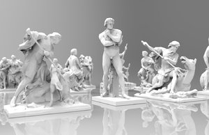 max triangulated statues sculptures stylized