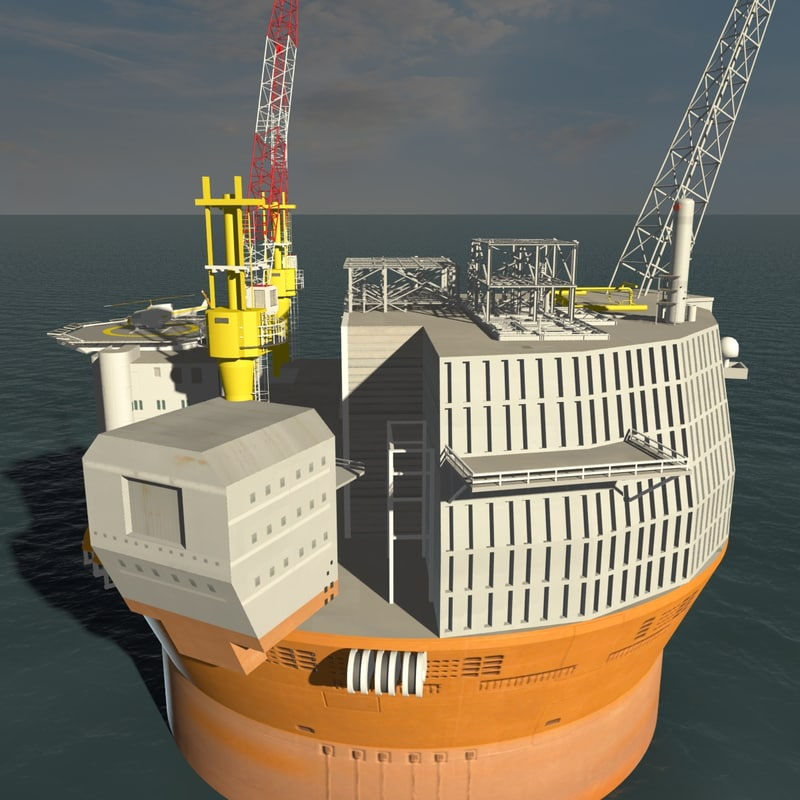 goliat fpso cylindrical 3d model
