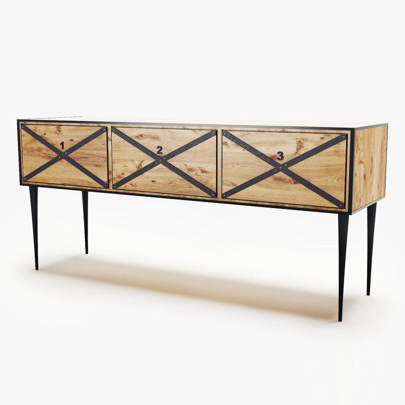 modern wooden 3d model