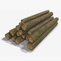 wooden logs obj