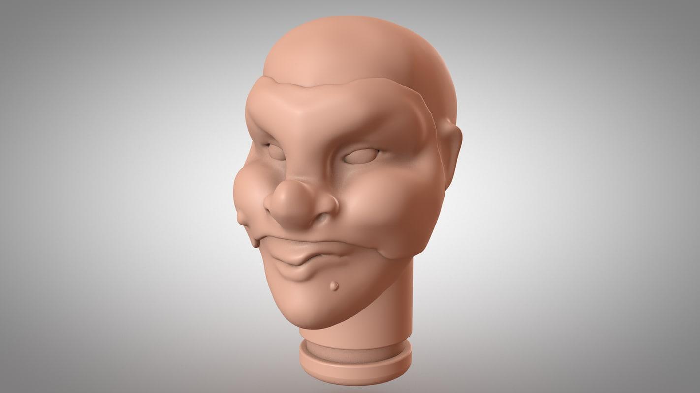 head puppet brighella 3d model