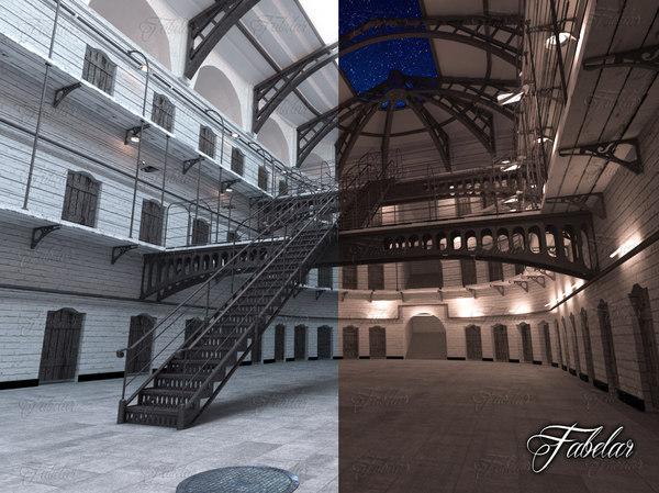 3d model prison night