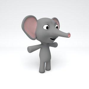 cute elephant 3d obj