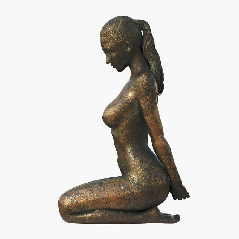 sitting girl statuette 3d max