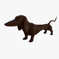 3d model dashing dachshund table sculpture