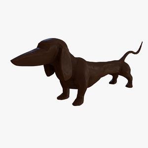 3d model dashing dachshund table sculpture