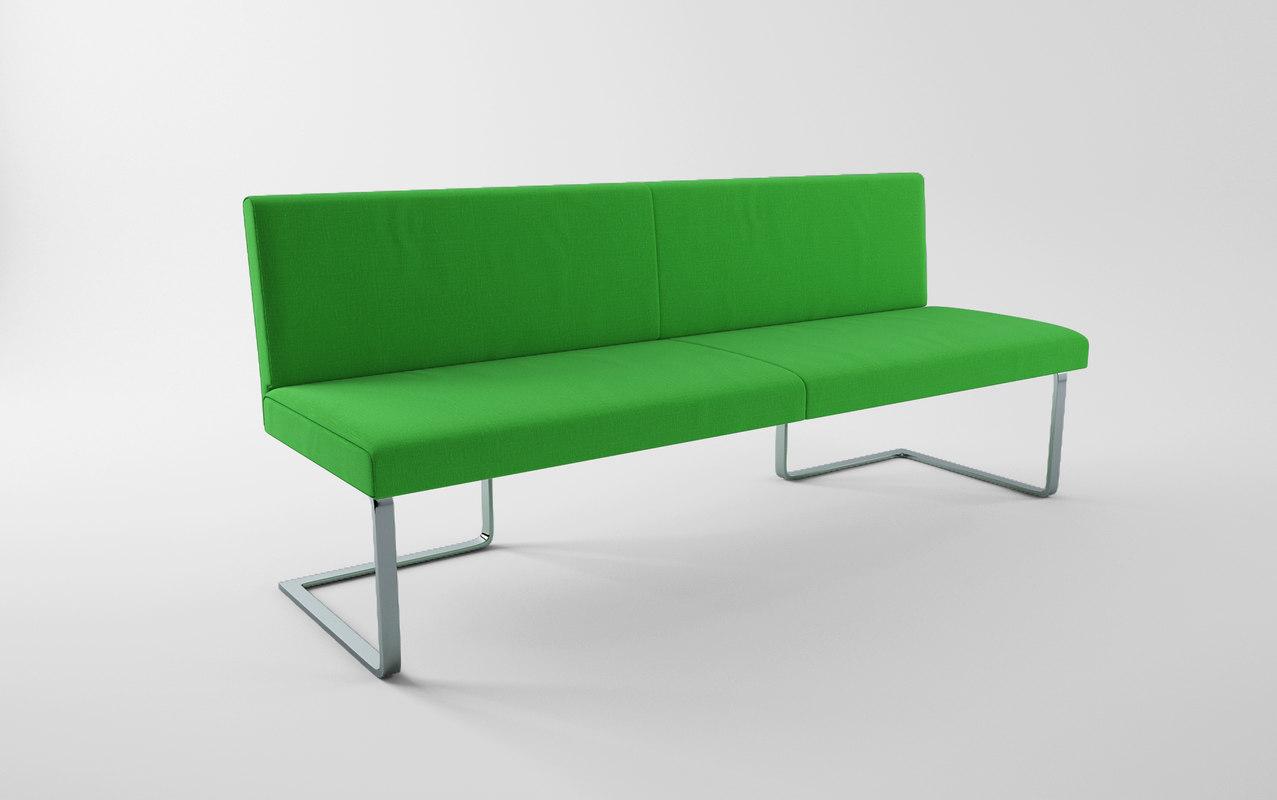 3d model green bench ready
