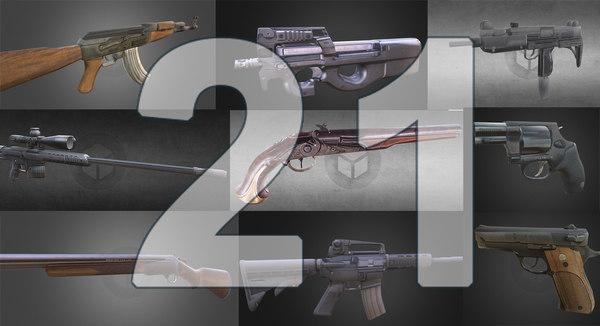 3d model guns 21