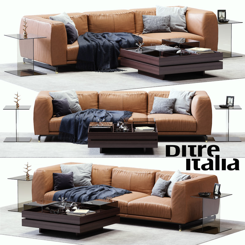 3d model of ditre st germain leather sofa