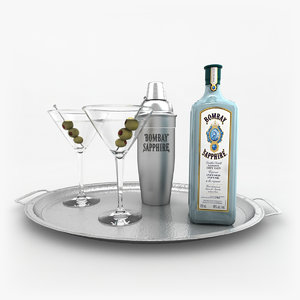bombay sapphire gin set 3d model
