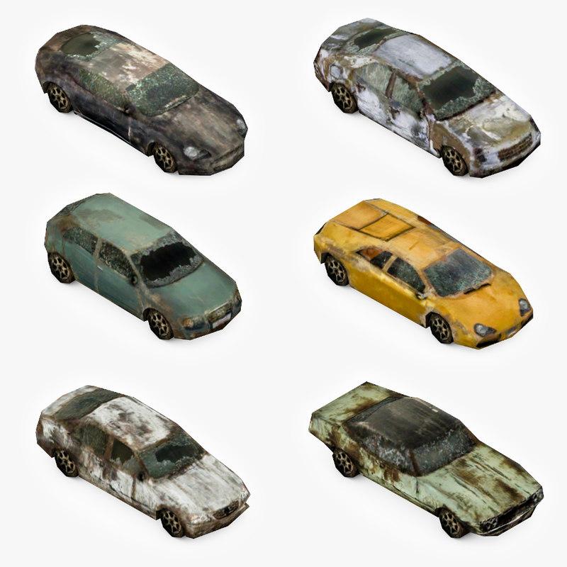 broken cars pack 3d model